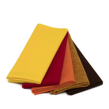Panno morbidissimo set colori Caldi Cioccolato melange, Cammello melange, Giallo sole, Arancione, Rosso fuoco per Cameo Portrait Curio Silhouette
